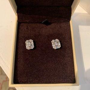 Real diamond baguette earrings